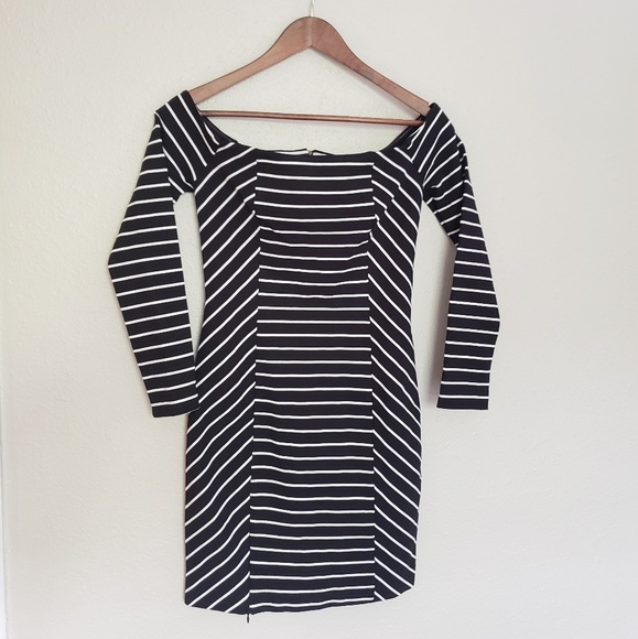 Everly Dresses & Skirts - Striped Off The Shoulder Bodycon Dress